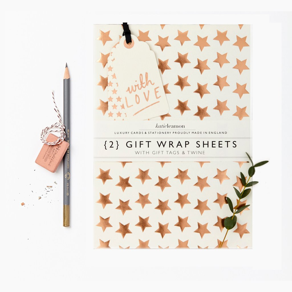 Copper Stars Gift Wrap