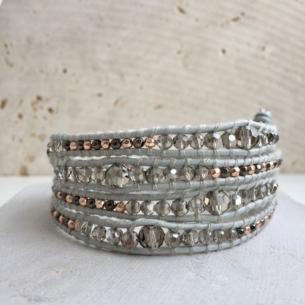 Crystal Dove Grey Leather Multi Wrap Bracelet