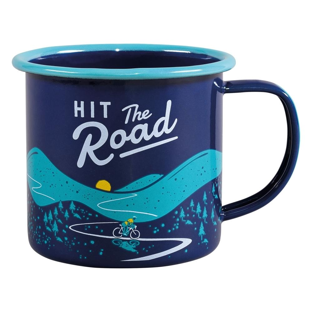 'Hit the Road' enamel mug
