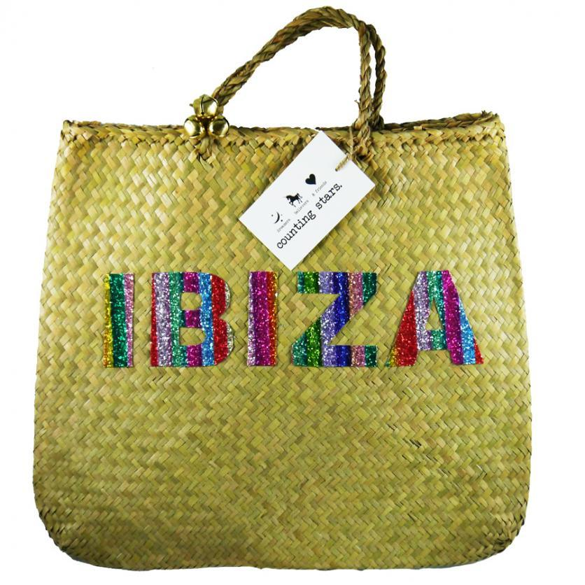 Glitter Palm Leaf Beach Bag - Ibiza