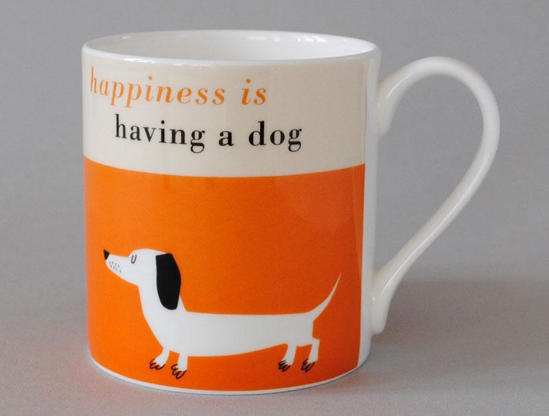 Happiness Sausage Dog Mug Orange