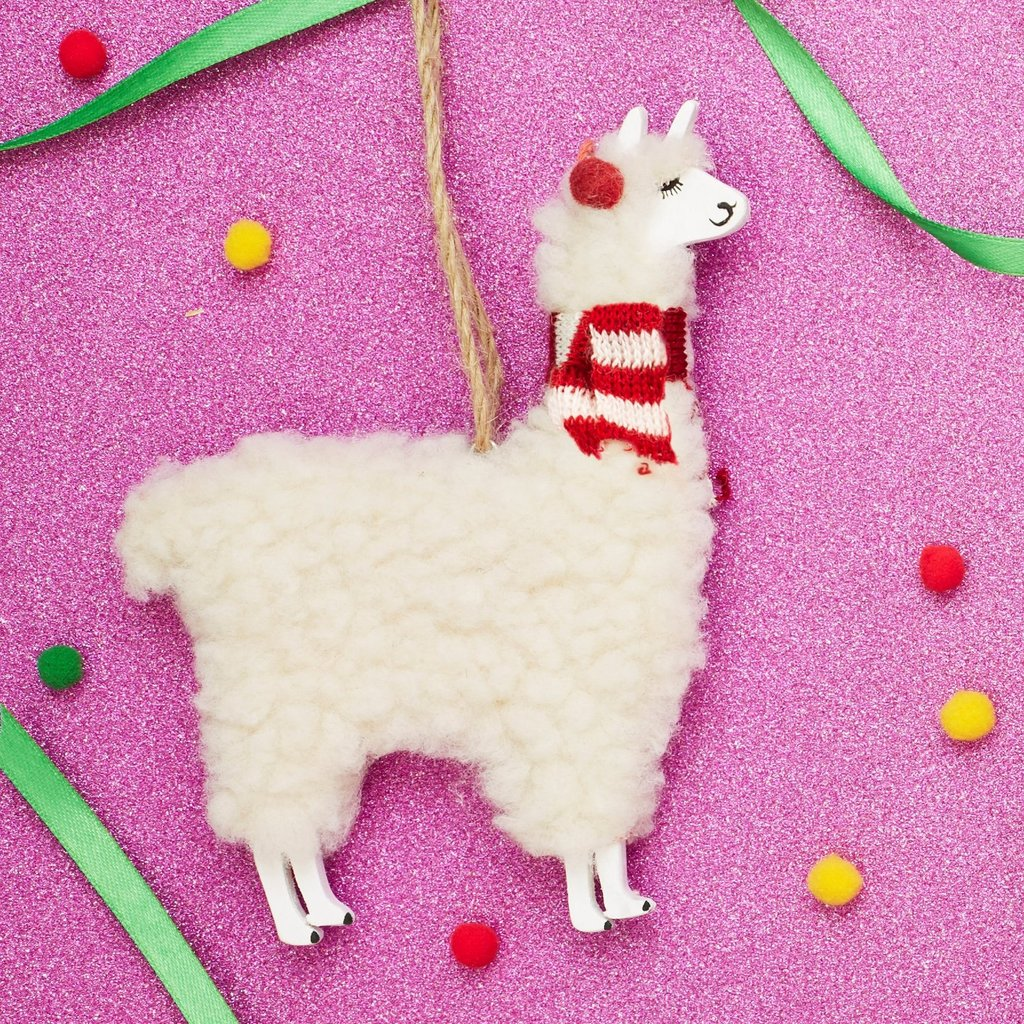 Festive Llama Christmas Decoration