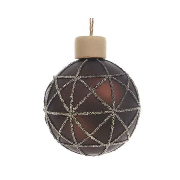FEATHER AND NEST Graphic Beaded Bauble Dark Chocolate