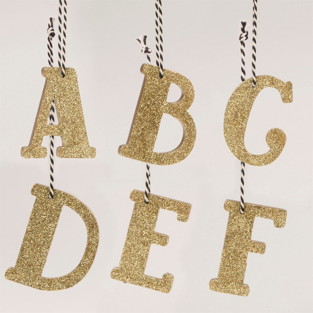 SASS & BELLE Gold Glitter Initial Decoration