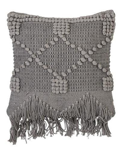 Fringed Concrete Grey Cushion