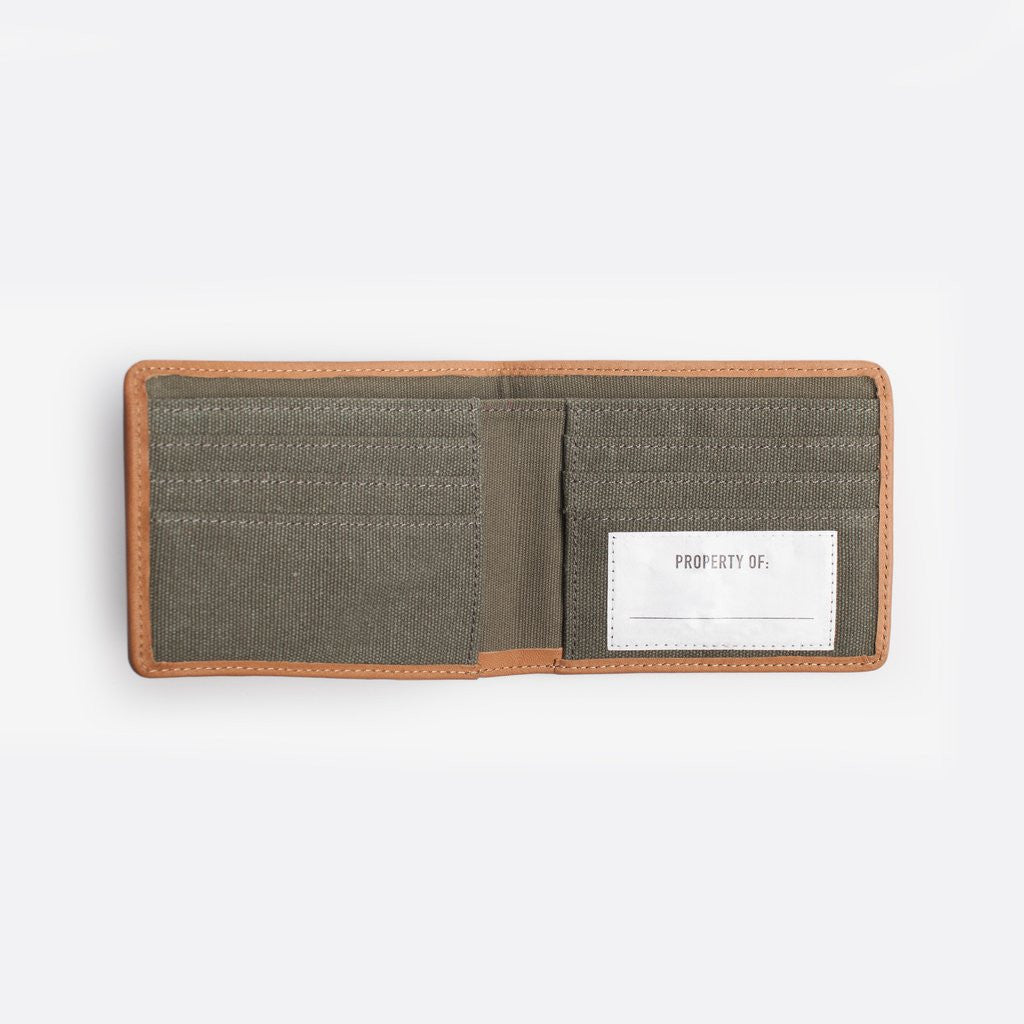 mens khaki canvas wallet