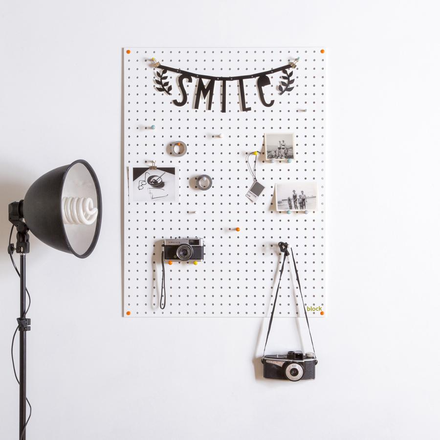 image of white pegboard from Block
