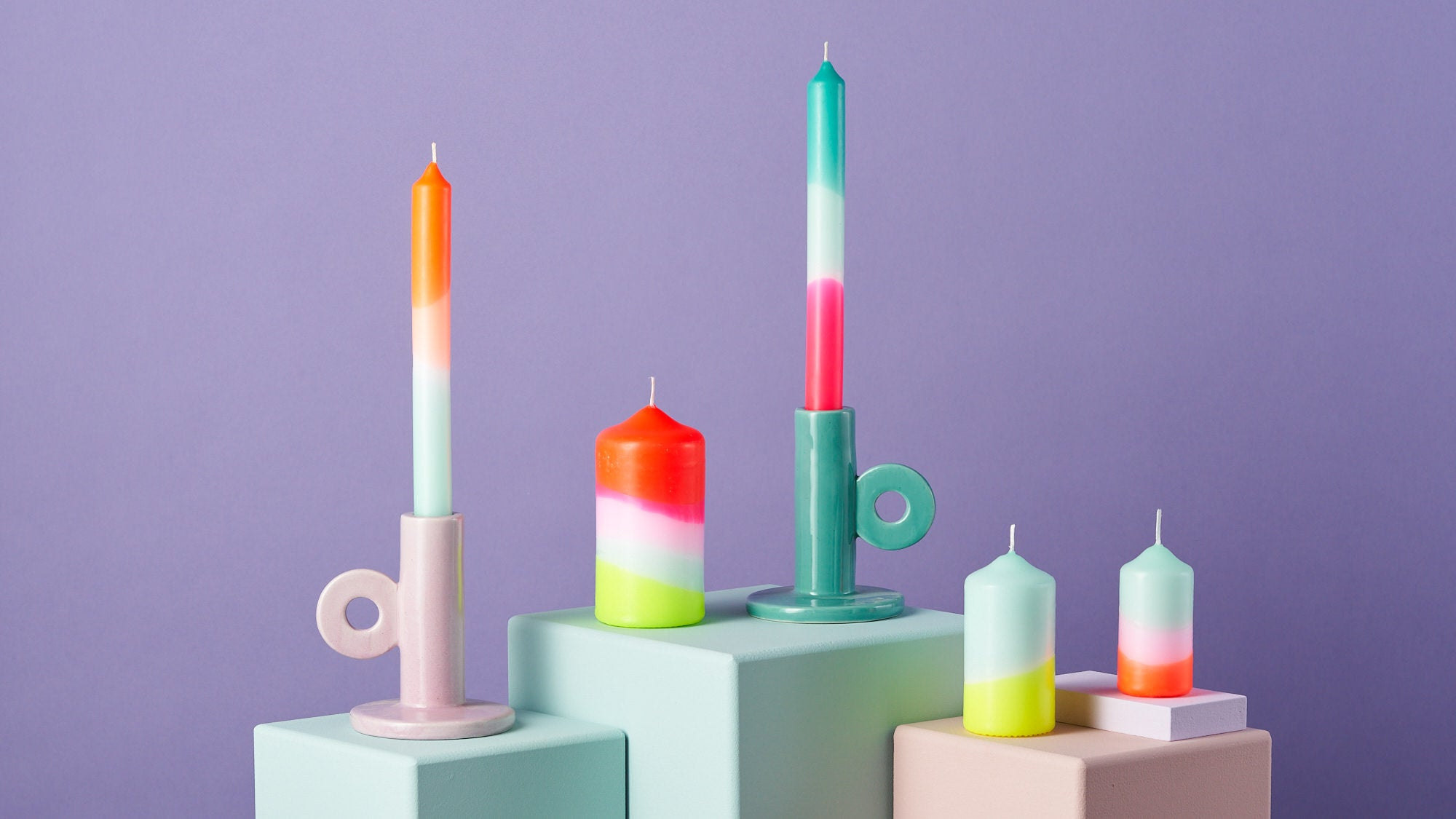 Neon Hand Dipped Candles