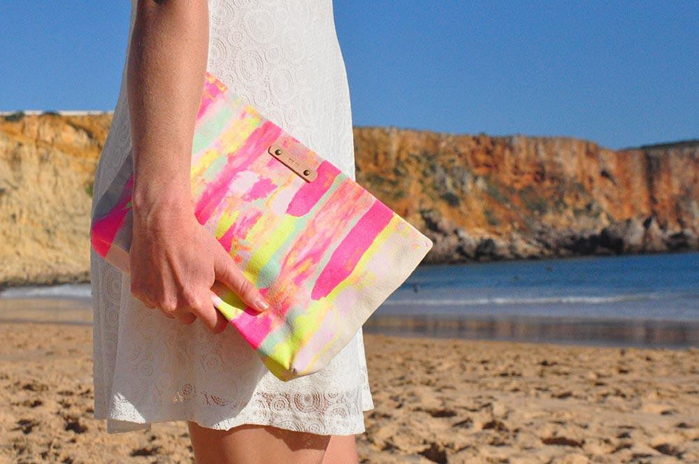 tropical canvas beach bag