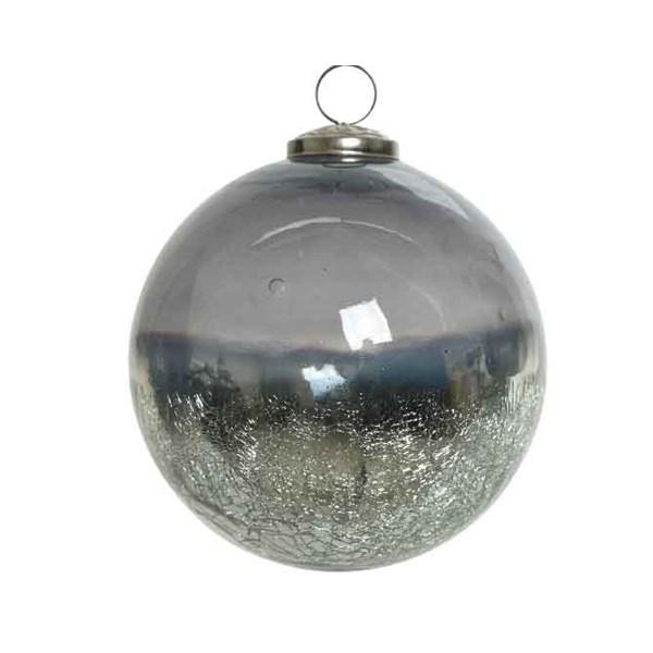 Large Grey Crackle Glass Bauble