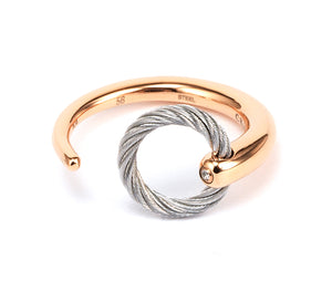 Charriol Zen - Stainless Steel Rose Gold Ring W/White Topaz 02-102-1232-0