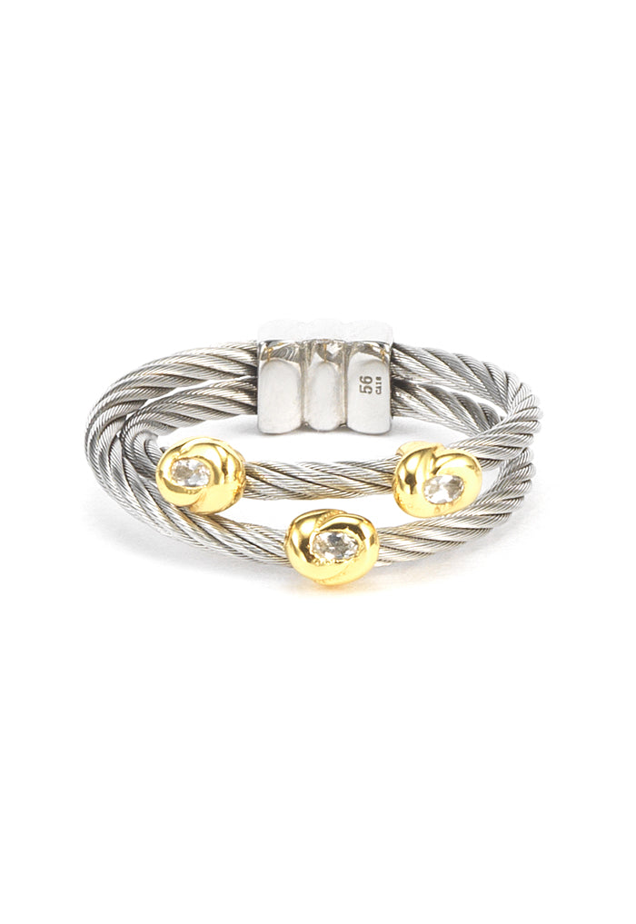 Charriol Malia - Silver Ring W/Yellow Gold & White Topaz 02-124-1220-5