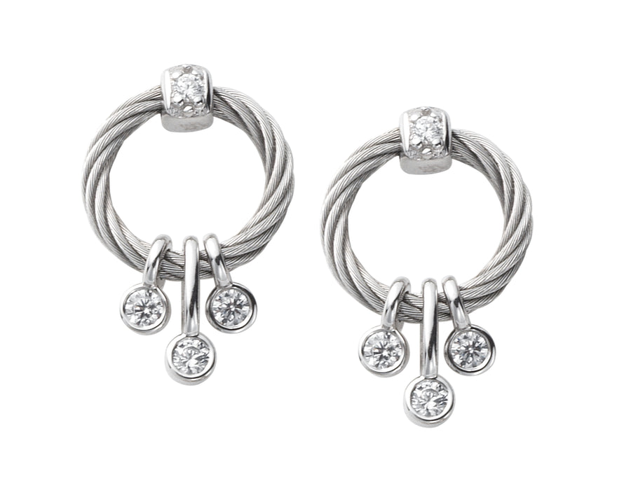 Charriol Sugar - Silver Earrings W/White Topaz Stones 03-121-1230-0