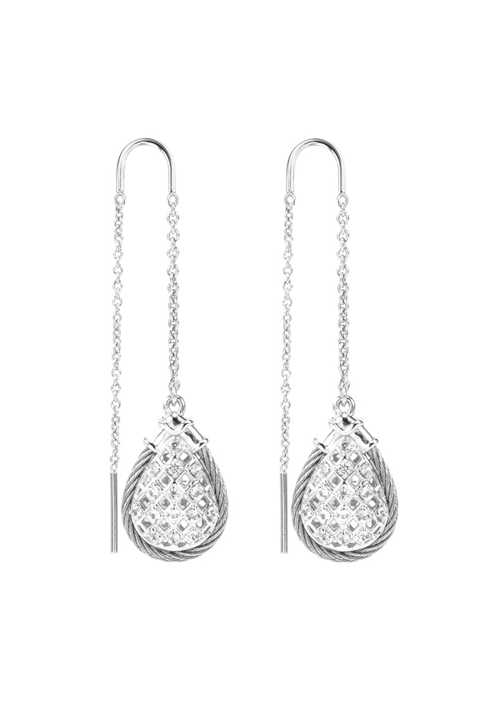 Charriol Crown - Silver Earrings W/White Topaz 03-121-1239-1