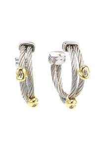 Charriol Malia - Silver Earrings W/Yellow Gold & White Topaz 03-124-1220-5