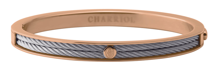 Charriol Forever - Stainless Steel Bangle W/Rose Gold 04-102-1139-7