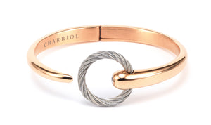 Charriol Zen - Stainless Steel Rose Gold Bangle W/White Topaz 04-102-1232-0