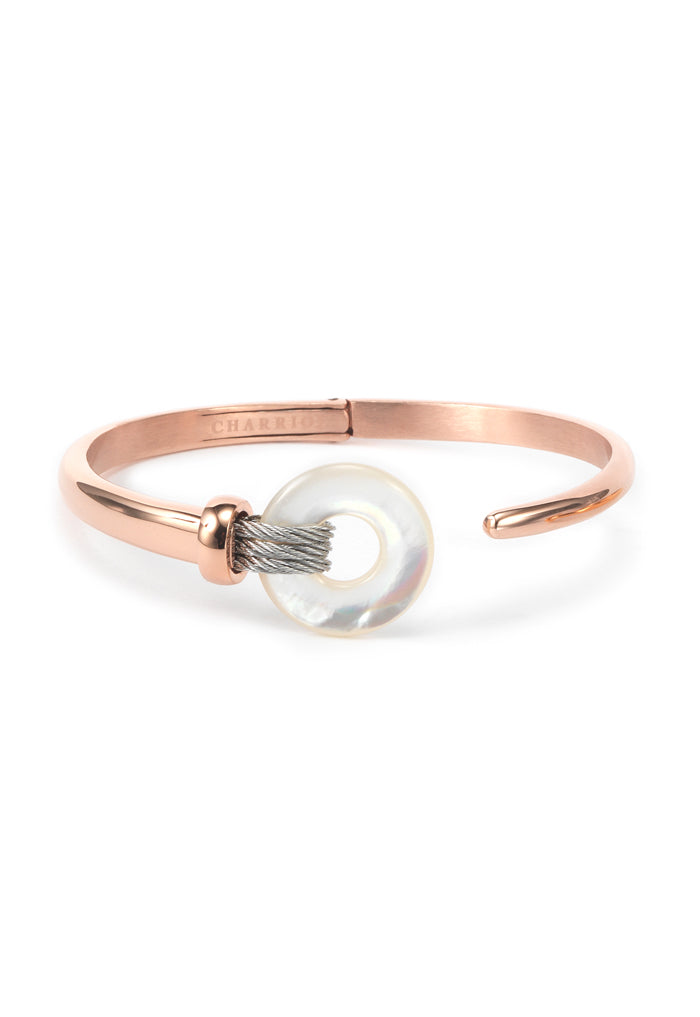 Charriol Zen - Stainless Steel Rose Gold Bangle W/White Mother of Pearl 04-102-1232-2