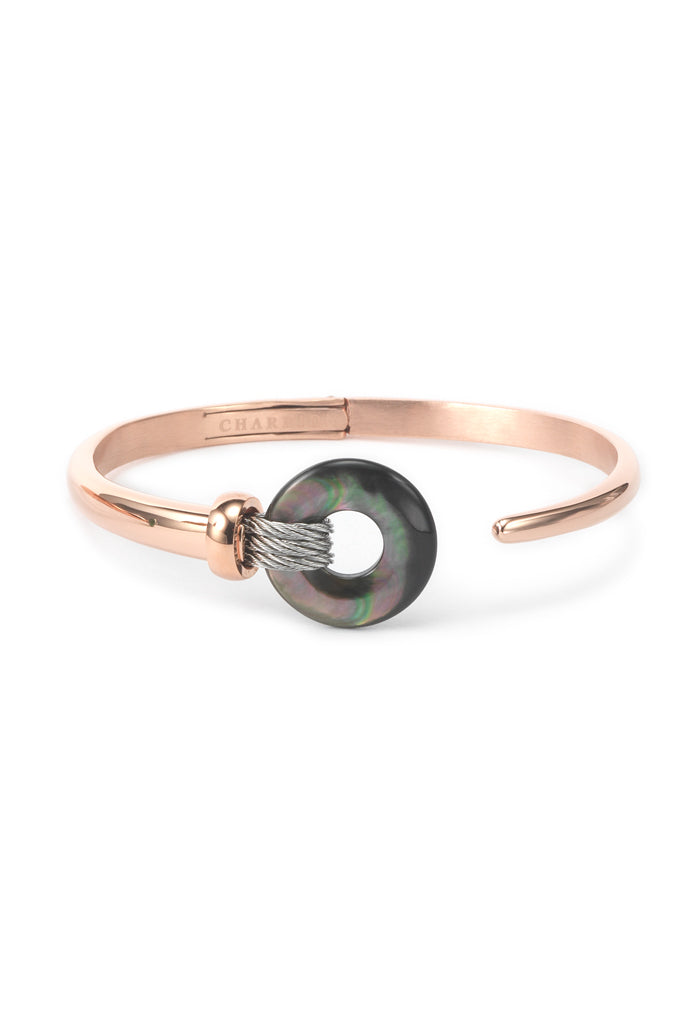 Charriol Zen - Stainless Steel Rose Gold Bangle W/Black Mother of Pearl 04-102-1232-3