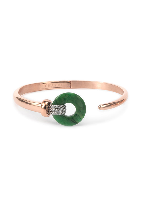 Charriol Zen - Stainless Steel Rose Gold Bangle W/African Jade 04-102-1232-4