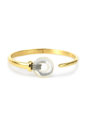 Charriol Zen - Stainless Steel Yellow Gold Bangle W/White Mother of Pearl 04-104-1232-2