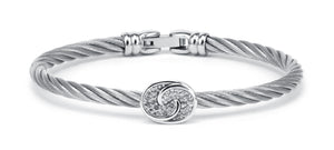 Charriol Debutantes - Silver Bangle W/White Topaz 04-121-1233-1
