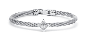 Charriol Debutantes - Silver Bangle W/White Topaz 04-121-1233-2