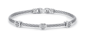 Charriol Debutantes - Silver Bangle W/White Topaz 04-121-1233-3