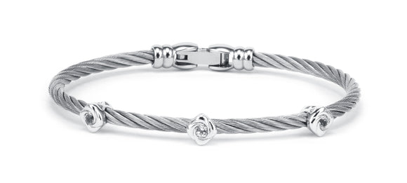 Charriol Debutantes - Silver Bangle W/White Topaz 04-121-1233-4