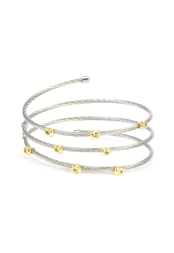 Charriol Malia - Silver Bangle W/Yellow Gold & White Topaz 04-124-1220-7