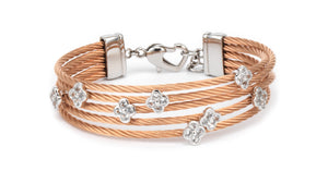 Charriol Malia - Silver Bangle W/White Topaz & Rose Gold 04-221-1220-3
