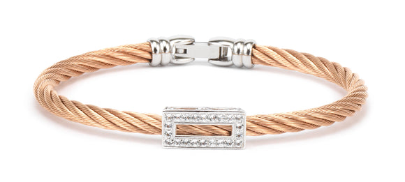 Charriol Debutantes - Silver Bangle W/White Topaz & Rose Gold  04-221-1233-0