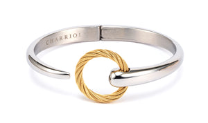 Charriol Zen - Stainless Steel Bangle W/White Topaz & Yellow Gold  04-401-1232-0