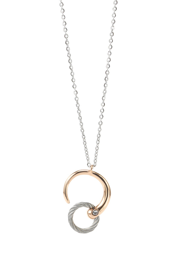Charriol Zen - Stainless Steel Rose Gold Necklace W/White Topaz 08-102-1232-0