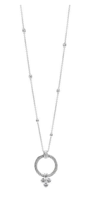 Charriol Sugar - Silver Necklace W/White Topaz Stones 08-121-1230-0B