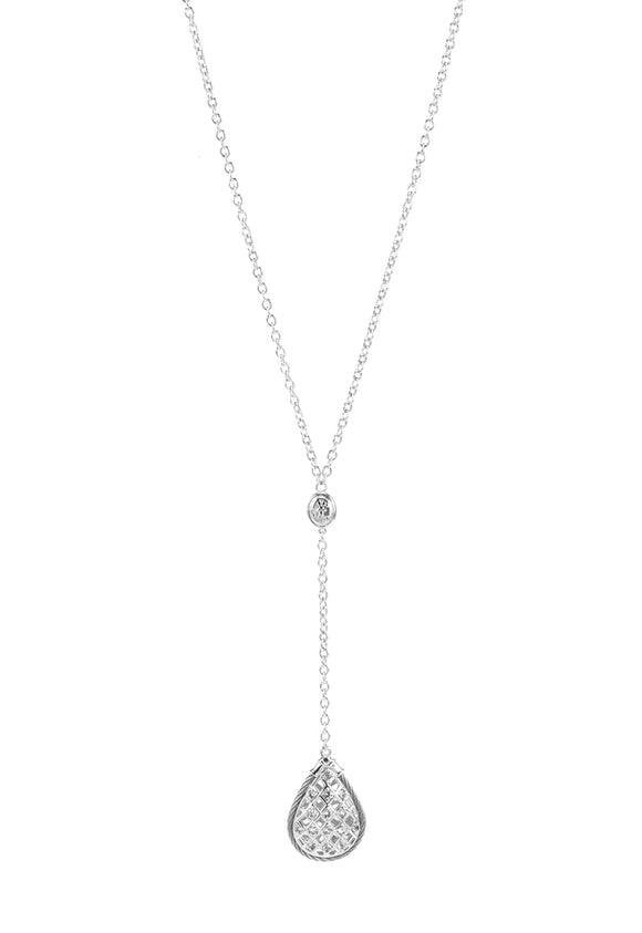 Charriol Crown - Silver Necklace W/White Topaz 08-121-1239-1