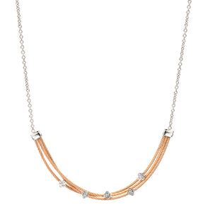 Charriol Malia - Silver Necklace W/White Topaz & Rose Gold 08-221-1220-3