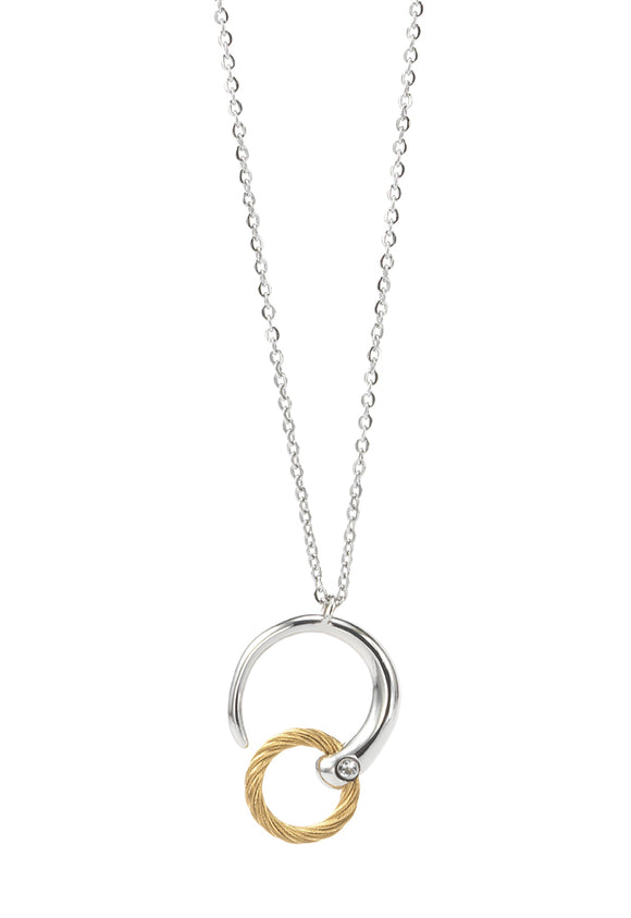 Charriol Zen - Stainless steel necklace W/White Topaz & Yellow Gold 08-401-1232-0