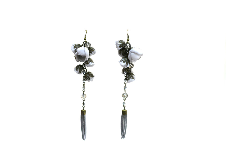 Poppy Earrings Grey Quartz