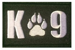 K - 9 Rectangle Black Patch - 2 Pack