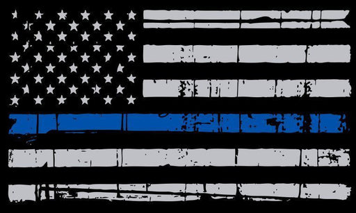 Distressed US Flag Thin Blue Line Sticker