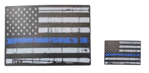 Image of Distressed US Flag Thin Blue Line Sticker