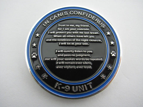 Image of Law Enforcement - Blue/Black K9 Unit Challenge Coin