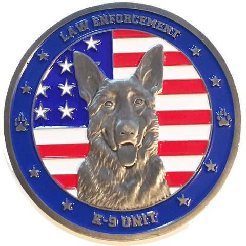 Image of American Flag Law Enforcement K9 Unit Challenge Coin