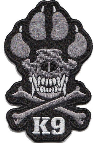 Black / Grey Skull and Bones K9 Patch - 2 Pack