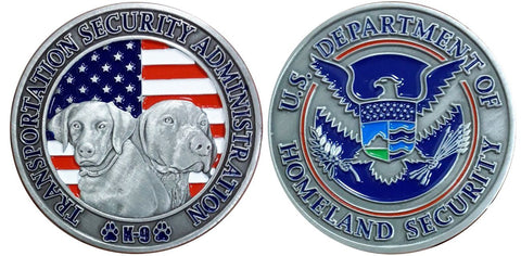 TSA K9 Challenge Coin with 2 Dog Heads