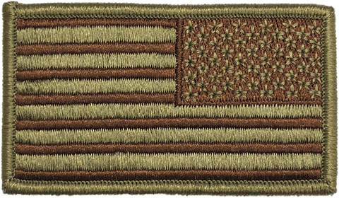 OFFICIAL USAF US Reverse Spice Brown OCP/Multicam Flag Patch - 2 Pack