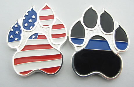Mini American Flag K9 Paw Challenge Coin with Thin Blue Line
