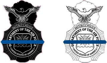 USAF Security Force Badge - Thin Blue Line Sticker
