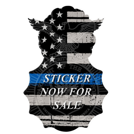 Custom Security Forces Badge - Thin Blue Line Sticker